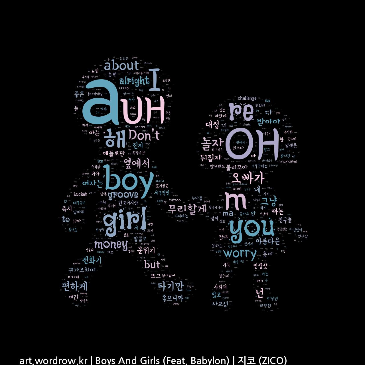 워드 클라우드: Boys And Girls (Feat. Babylon) [지코 (ZICO)]-72